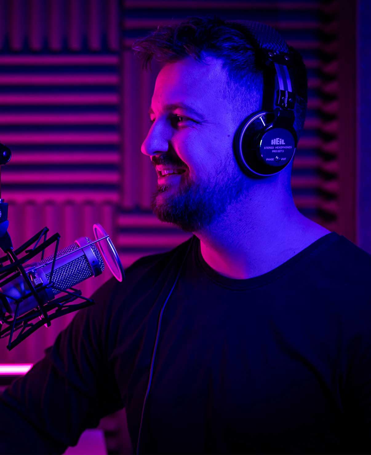 Mark Asquith recording a podcast at Rebel Base Media's podcast recording studio in Sheffield, U.K.